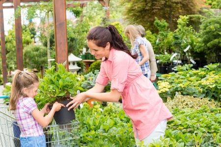 Little girl with mum shopping flowers plant at garden centre