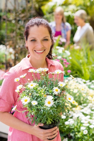 Woman hold potted daisy white flower at garden shopping center Stock Photo - 14381131