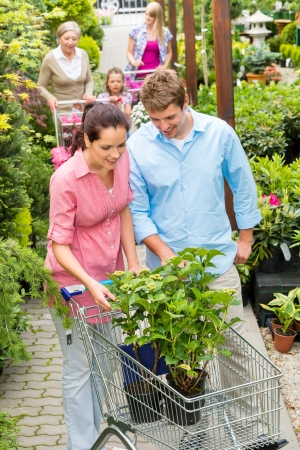 Young couple choosing plant flowers at garden centre retail store photo