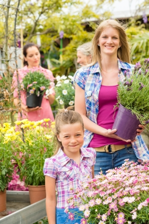Little girl with young woman buying potted flower at market Stock Photo - 14639908