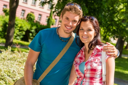 Young couple in city park happy tourists on summer holiday Stock Photo - 14639917