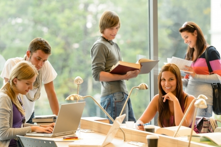 college student: High-school students learning in study teens young education academic campus Stock Photo