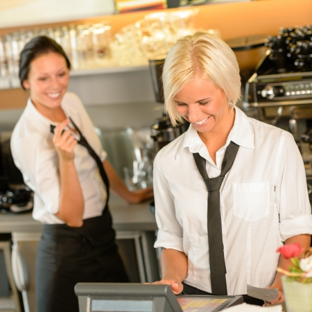 cash register: Cafe waitress cashes in order bill register woman working happy