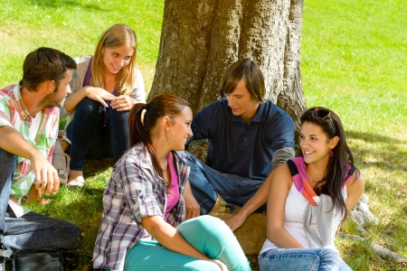schoolyard: Students sitting in park talking smiling teens leisure campus schoolyard Stock Photo