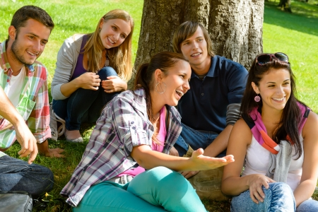 Students relaxing in schoolyard teens meadow park laughing campus young Stock Photo - 15231332