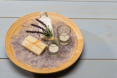 Provence style aromatherapy lavender cosmetic products on wooden tray photo