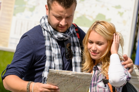 Couple looking at map on city break vacation leisure togetherness Stock Photo - 16968395