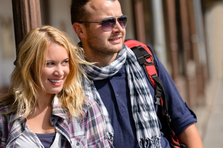 Couple traveling by backpack smiling together trip young vacation excited Stock Photo - 16968403