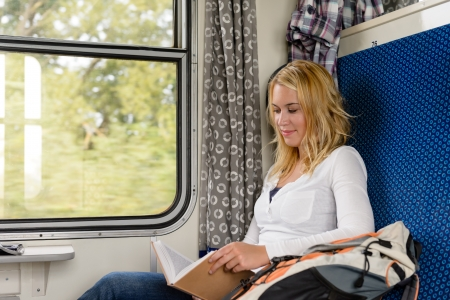 Woman reading book in train smiling commuter leisure journey vacation Stock Photo - 16968379