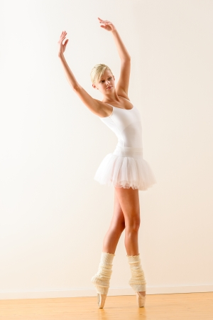 Ballet dancer standing on tiptoe with raised arms Stock Photo - 16984873