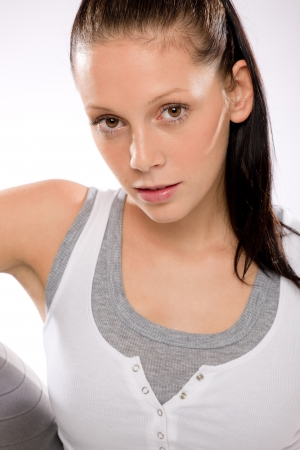Portrait of Caucasian young woman in sportswear on white background Stock Photo - 17160247