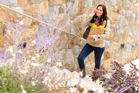 subiendo escaleras: Mujer sonriente subiendo las escaleras hablando teléfono comestibles bolsa de compras