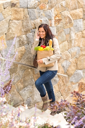 Woman walking stairs shopping bag calling mobile phone happy Stock Photo - 17388860