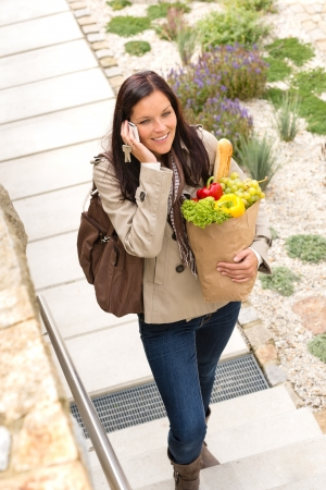 Woman talking smart phone walking home speaking paper bag smiling Stock Photo - 17388895