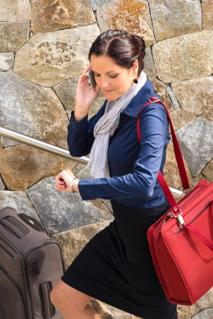 hurried: Happy woman calling hurried traveling luggage phone rushing talking