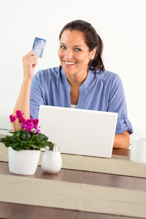 Smiling woman shopping online home credit card internet laptop Stock Photo - 17388968