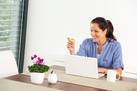 Cheerful woman internet home banking card laptop online shopping Stock Photo - 17388961