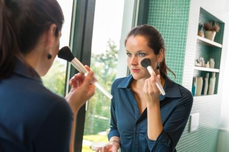 Elegance woman preparation face blush cosmetic brush bathroom mirror morning Stock Photo - 17388947