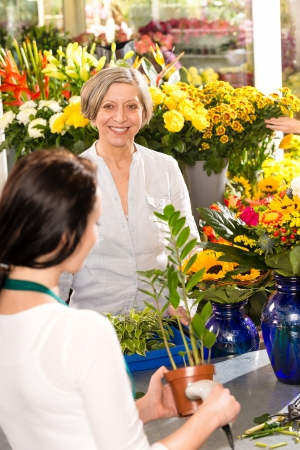 Senior woman buying potted plant paying flower market shop Stock Photo - 17692458