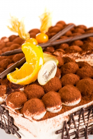 mascarpone: Fresh tiramisu dessert creamy mascarpone luxury sweet cake Stock Photo