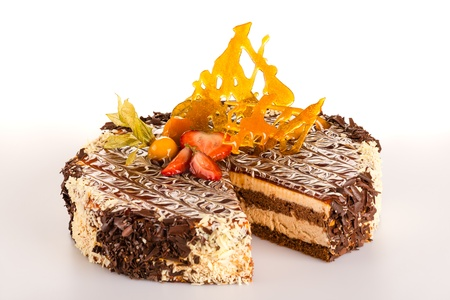 sweet tart: Chocolate coffee cake with caramel strawberry delicious sweet tart