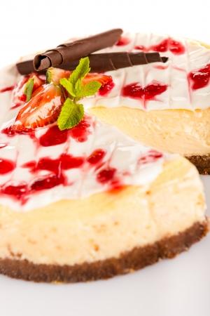 Strawberry cheese cake fresh dessert creamy delicious chocolate topping photo