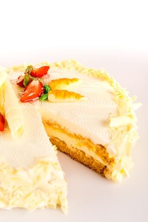 carrot cake: Carrot cake light healthy option marzipan decoration almonds Stock Photo