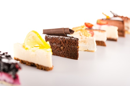 Slice cake selection delicious sweet tart choice display
