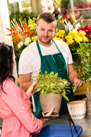 Smiling male florist selling potted plant flower shop market woman photo