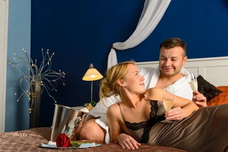 sexy couple in bed: Loving couple romantic Valentine Stock Photo