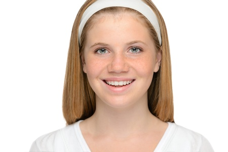Teenager blonde girl cheerful smiling beauty face Stock Photo - 18969703