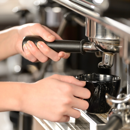 Close up making coffee cappuccino with professional machine