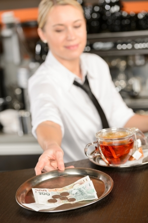 Attractive waitress taking tip in bar from tray czech crowns Stock Photo - 19379834