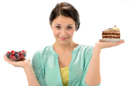 Concept of healthy nutrition woman posing as scale Stock Photo - 19379799