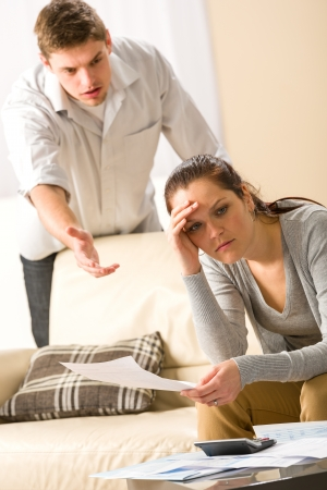 Worried arguing couple has financial crisis Stock Photo - 20142182