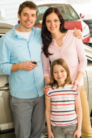 Portrait of young caucasian family with new car
