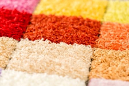 fitted: A selection of colorful carpet swatches Stock Photo