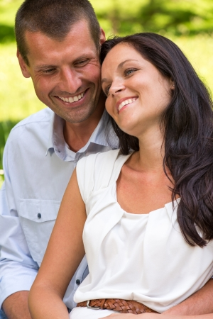 Close up portrait of young happy couple outdoors Stock Photo - 22213308