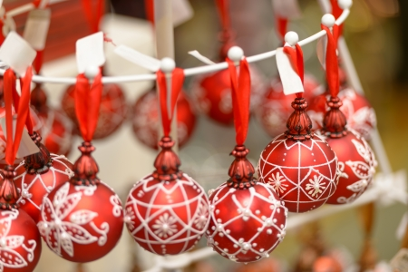 Hanging red and white Christmas ornaments balls at shop Stock Photo - 22175225