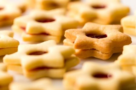 Freshly baked Christmas cookies star with jam Stock Photo - 22396468