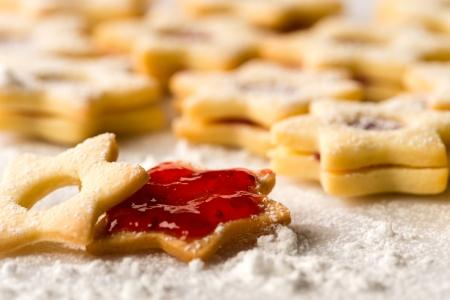 Homemade Christmas cookies star with strawberry jam Stock Photo - 22396469