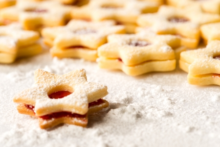Christmas cookie stars fresh baked gingerbread powdered sugar Stock Photo - 22396472