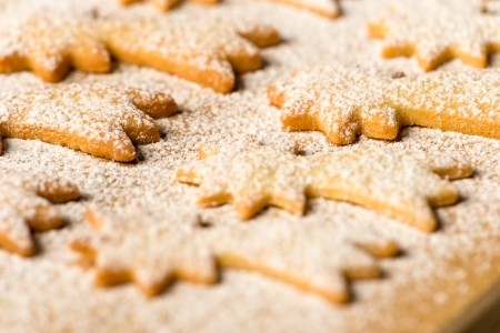 Baking christmas cookies comet star with powdered sugar Stock Photo - 22396473