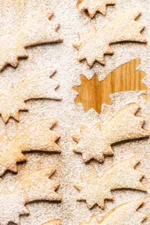 Christmas sweets comet star with powdered sugar photo