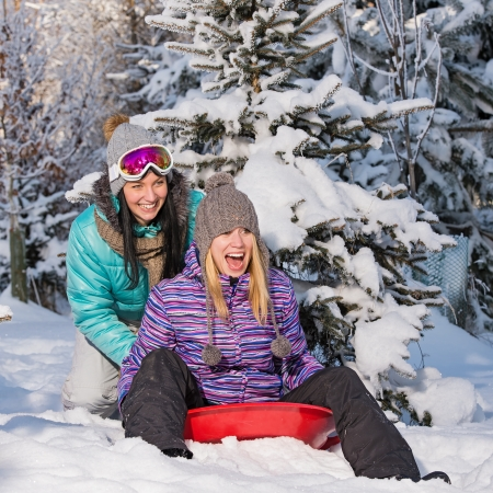 Two female friends on bobsleigh winter snow laughing having fun photo
