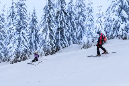 Rescue ski patrol help injured woman skier lying in snow photo