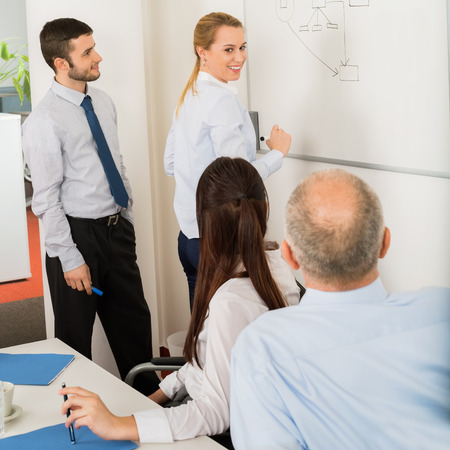 boardroom meeting: Business team planning strategy on whiteboard in boardroom meeting Stock Photo