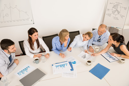 High angle view of business team discussing in boardroom meeting Stock Photo - 27281173