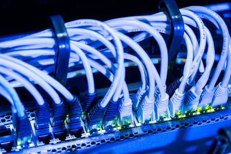 plugged in: Network ethernet cables plugged in switch of internet server room Stock Photo