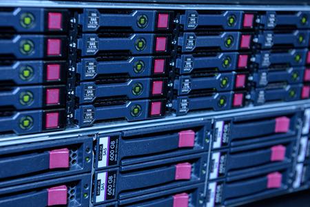 Cluster of internet server harddisks in datacenter